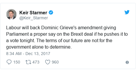 Twitter post by @Keir_Starmer: Labour will back Dominic Grieve's amendment giving Parliament a proper say on the Brexit deal if he pushes it to a vote tonight. The terms of our future are not for the government alone to determine.