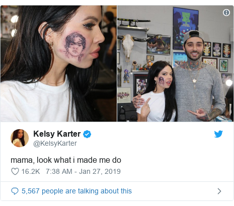 Twitter post by @KelsyKarter: mama, look what i made me do