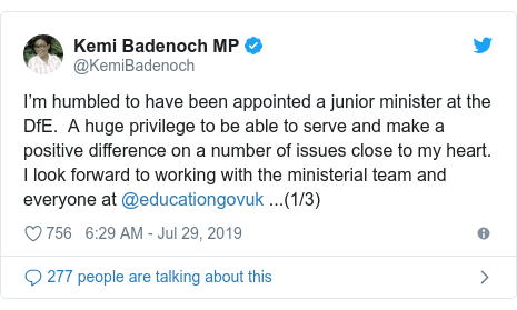 Twitter post by @KemiBadenoch: I'm humbled to have been appointed a junior minister at the DfE.  A huge privilege to be able to serve and make a positive difference on a number of issues close to my heart. I look forward to working with the ministerial team and everyone at @educationgovuk ...(1/3)