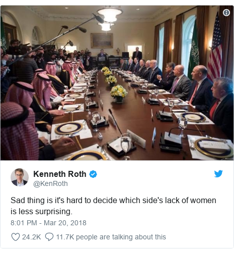 Twitter post by @KenRoth: Sad thing is it's hard to decide which side's lack of women is less surprising.