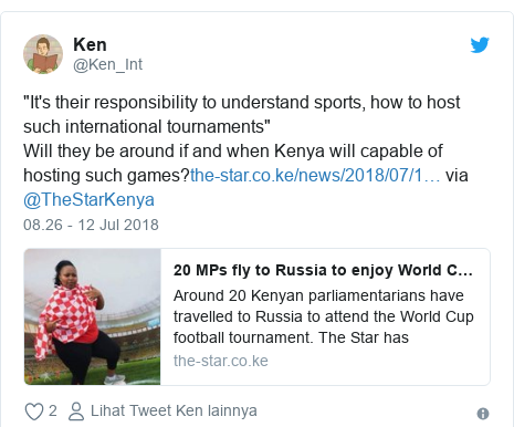 "Twitter pesan oleh @Ken_Int: ""It's their responsibility to understand sports, how to host such international tournaments""Will they be around if and when Kenya will capable of hosting such games? via @TheStarKenya"