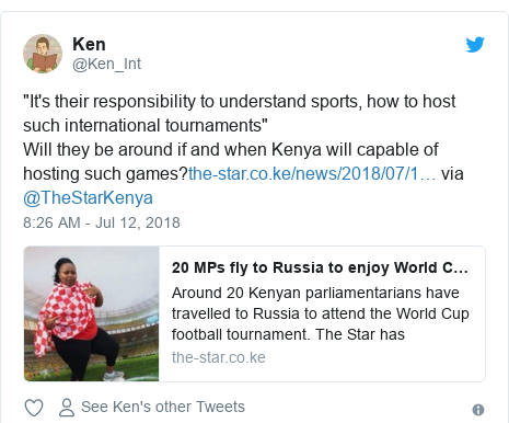 "Twitter post by @Ken_Int: ""It's their responsibility to understand sports, how to host such international tournaments""Will they be around if and when Kenya will capable of hosting such games? via @TheStarKenya"
