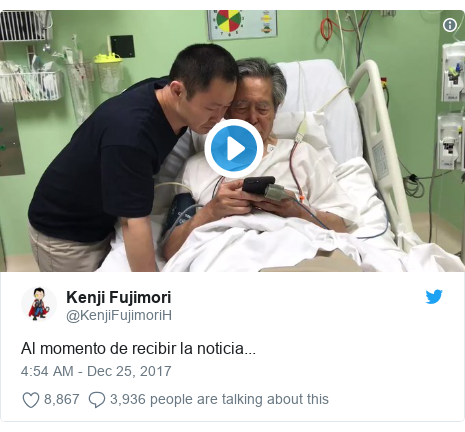 Twitter post by @KenjiFujimoriH: Al momento de recibir la noticia...