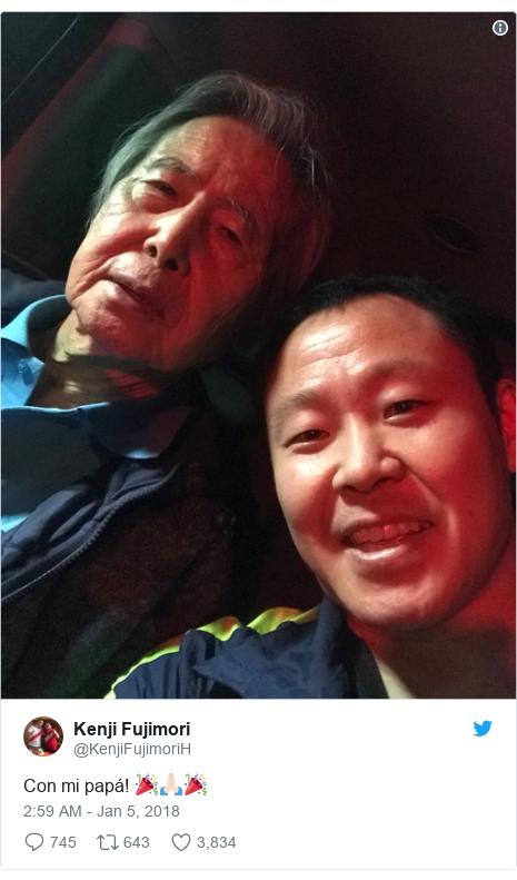 Twitter post by @KenjiFujimoriH: Con mi papá! 🎉🙏🏻🎉