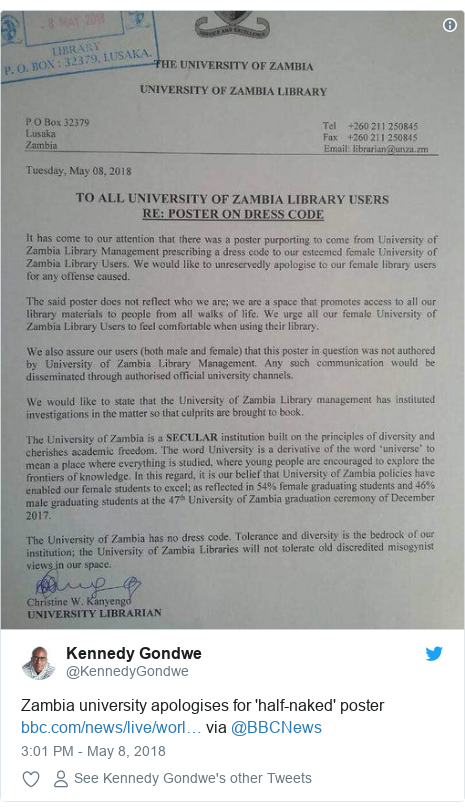 Twitter post by @KennedyGondwe: Zambia university apologises for 'half-naked' poster  via @BBCNews