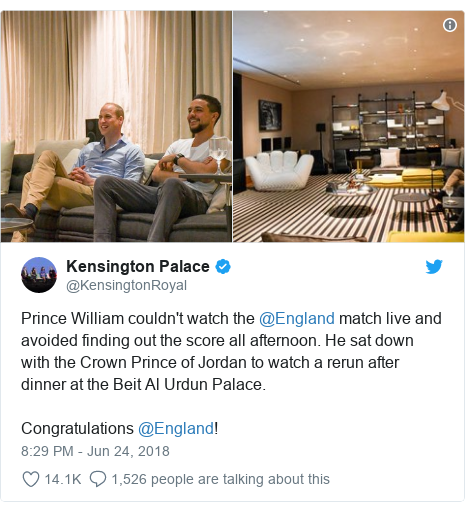 Twitter post by @KensingtonRoyal: Prince William couldn't watch the @England match live and avoided finding out the score all afternoon. He sat down with the Crown Prince of Jordan to watch a rerun after dinner at the Beit Al Urdun Palace.Congratulations @England!