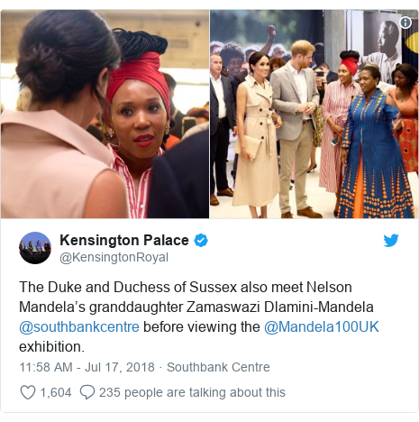 Twitter post by @KensingtonRoyal: The Duke and Duchess of Sussex also meet Nelson Mandela's granddaughter Zamaswazi Dlamini-Mandela @southbankcentre before viewing the @Mandela100UK exhibition.