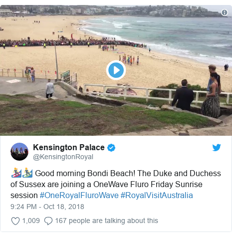 Twitter post by @KensingtonRoyal: 🏄‍♀️🏄‍♂️ Good morning Bondi Beach! The Duke and Duchess of Sussex are joining a OneWave Fluro Friday Sunrise session #OneRoyalFluroWave #RoyalVisitAustralia