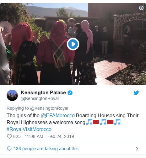 Twitter post by @KensingtonRoyal: The girls of the @EFAMorocco Boarding Houses sing Their Royal Highnesses a welcome song🎵🇲🇦🎵🇲🇦🎵. #RoyalVisitMorocco.