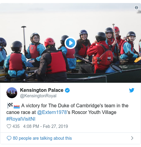 Twitter post by @KensingtonRoyal: 🏁🛶 A victory for The Duke of Cambridge's team in the canoe race at @Extern1978's Roscor Youth Village #RoyalVisitNI