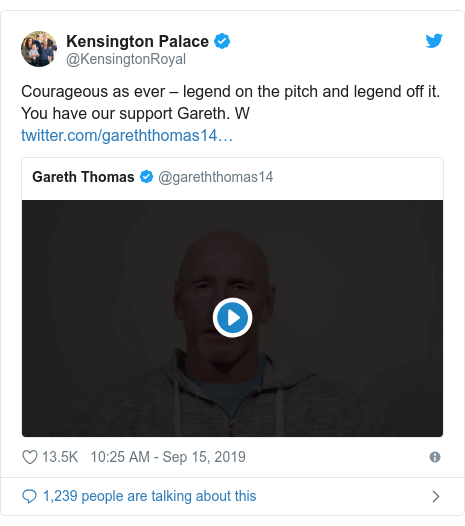 Twitter post by @KensingtonRoyal: Courageous as ever – legend on the pitch and legend off it. You have our support Gareth. W