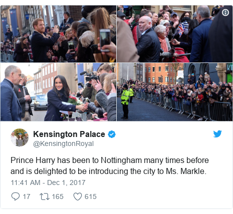 Twitter post by @KensingtonRoyal: Prince Harry has been to Nottingham many times before and is delighted to be introducing the city to Ms. Markle.