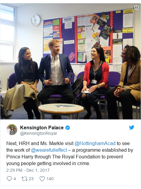 Twitter post by @KensingtonRoyal: Next, HRH and Ms. Markle visit @NottinghamAcad to see the work of @wearefulleffect – a programme established by Prince Harry through The Royal Foundation to prevent young people getting involved in crime.