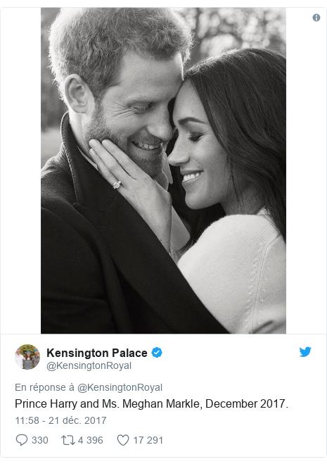 Twitter publication par @KensingtonRoyal: Prince Harry and Ms. Meghan Markle, December 2017.