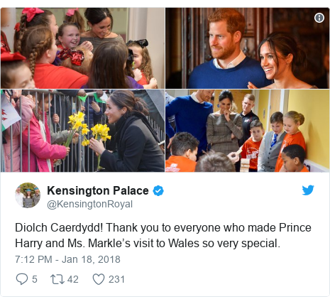Twitter post by @KensingtonRoyal: Diolch Caerdydd! Thank you to everyone who made Prince Harry and Ms. Markle's visit to Wales so very special.