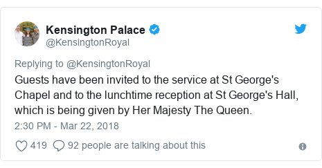 Twitter post by @KensingtonRoyal: Guests have been invited to the service at St George's Chapel and to the lunchtime reception at St George's Hall, which is being given by Her Majesty The Queen.