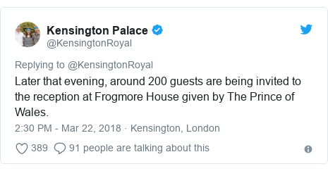 Twitter post by @KensingtonRoyal: Later that evening, around 200 guests are being invited to the reception at Frogmore House given by The Prince of Wales.