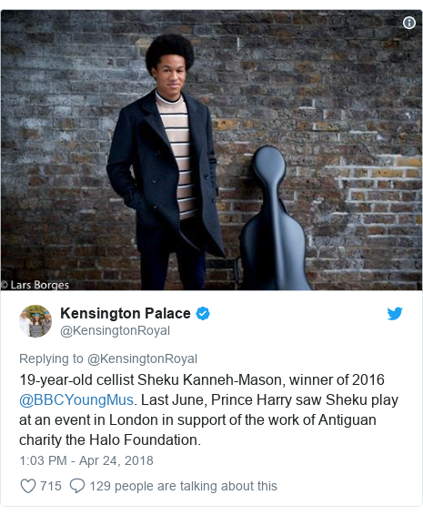 Twitter post by @KensingtonRoyal: 19-year-old cellist Sheku Kanneh-Mason, winner of 2016 @BBCYoungMus. Last June, Prince Harry saw Sheku play at an event in London in support of the work of Antiguan charity the Halo Foundation.