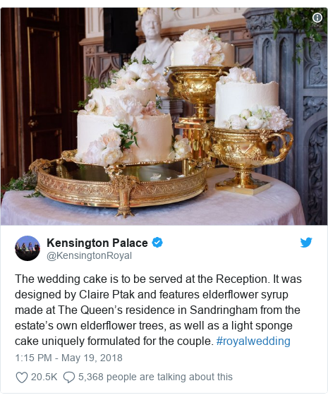 Twitter post by @KensingtonRoyal: The wedding cake is to be served at the Reception. It was designed by Claire Ptak and features elderflower syrup made at The Queen's residence in Sandringham from the estate's own elderflower trees, as well as a light sponge cake uniquely formulated for the couple. #royalwedding