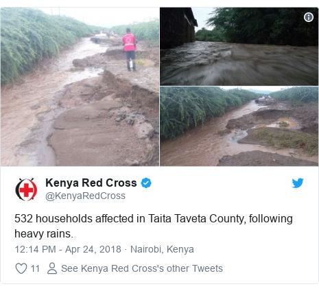 Ujumbe wa Twitter wa @KenyaRedCross: 532 households affected in Taita Taveta County, following heavy rains.