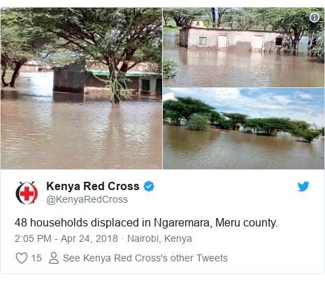 Ujumbe wa Twitter wa @KenyaRedCross: 48 households displaced in Ngaremara, Meru county.
