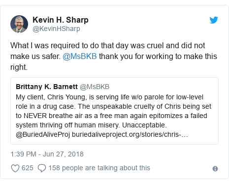 Twitter post by @KevinHSharp: What I was required to do that day was cruel and did not make us safer. @MsBKB thank you for working to make this right.