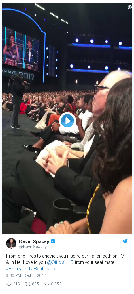 Twitter post by @KevinSpacey: From one Pres to another, you inspire our nation both on TV & in life. Love to you @OfficialJLD from your seat mate #EmmyDad #BeatCancer