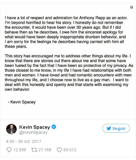 Publicación de Twitter por @KevinSpacey: