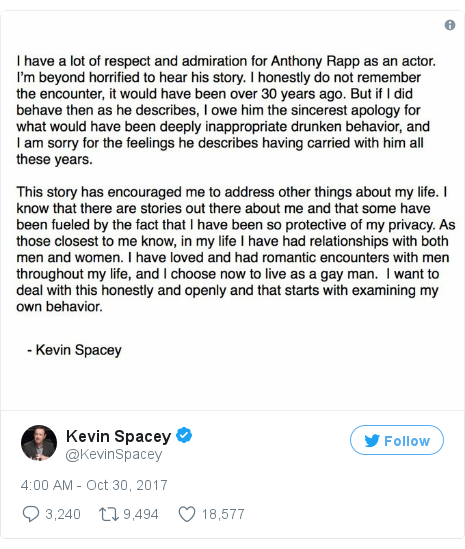 Twitter post by @KevinSpacey: