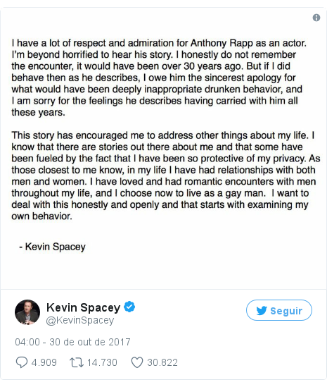 Twitter post de @KevinSpacey: