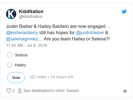 Twitter post by @KiddNation: Justin Bieber & Hailey Baldwin are now engaged.... @kellierasberry still has hopes for @justinbieber & @selenagomez.... Are you team Hailey or Selena?!