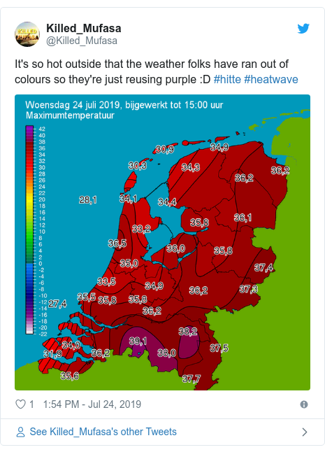 Twitter post by @Killed_Mufasa: It's so hot outside that the weather folks have ran out of colours so they're just reusing purple  D #hitte #heatwave