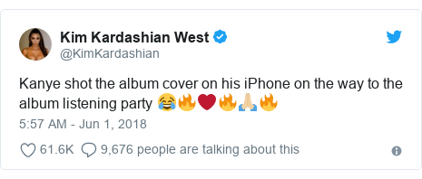 Twitter post by @KimKardashian: Kanye shot the album cover on his iPhone on the way to the album listening party 😂🔥❤️🔥🙏🏼🔥