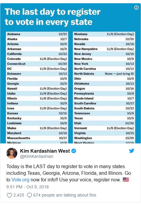 Twitter post by @KimKardashian: Today is the LAST day to register to vote in many states including Texas, Georgia, Arizona, Florida, and Illinois. Go to  now for info!! Use your voice, register now. 🇺🇸