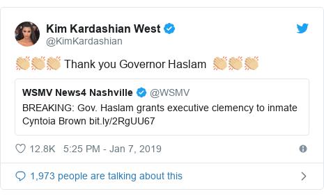 Twitter post by @KimKardashian: 👏🏼👏🏼👏🏼 Thank you Governor Haslam  👏🏼👏🏼👏🏼