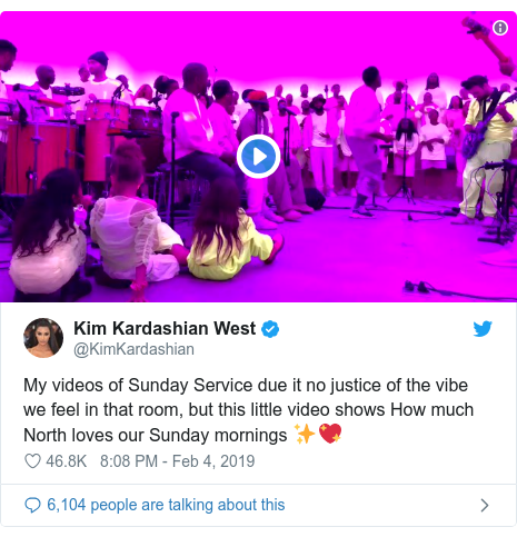 Twitter post by @KimKardashian: My videos of Sunday Service due it no justice of the vibe we feel in that room, but this little video shows How much North loves our Sunday mornings ✨💖