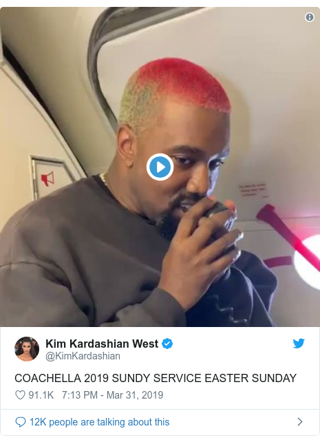 Twitter post by @KimKardashian: COACHELLA 2019 SUNDY SERVICE EASTER SUNDAY