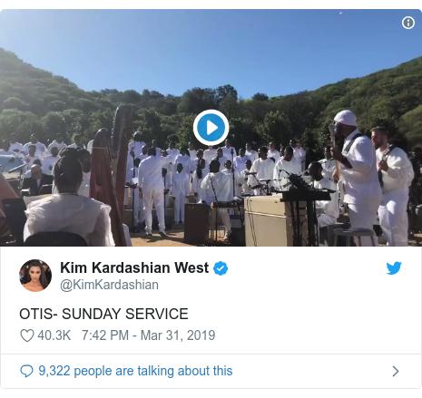 Twitter post by @KimKardashian: OTIS- SUNDAY SERVICE