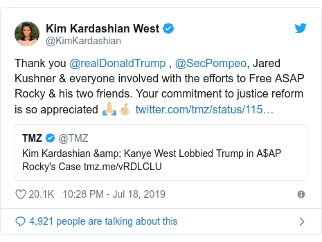 Twitter post by @KimKardashian: Thank you @realDonaldTrump , @SecPompeo, Jared Kushner & everyone involved with the efforts to Free ASAP Rocky & his two friends. Your commitment to justice reform is so appreciated 🙏🏼🤞🏼