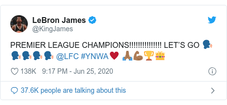 Twitter post by @KingJames: PREMIER LEAGUE CHAMPIONS!!!!!!!!!!!!!!! LET'S GO 🗣🗣🗣🗣🗣 @LFC #YNWA♥️ 🙏🏾💪🏾🏆👑