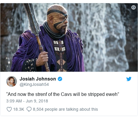 "Twitter post by @KingJosiah54: ""And now the strenf of the Cavs will be stripped eweh"""