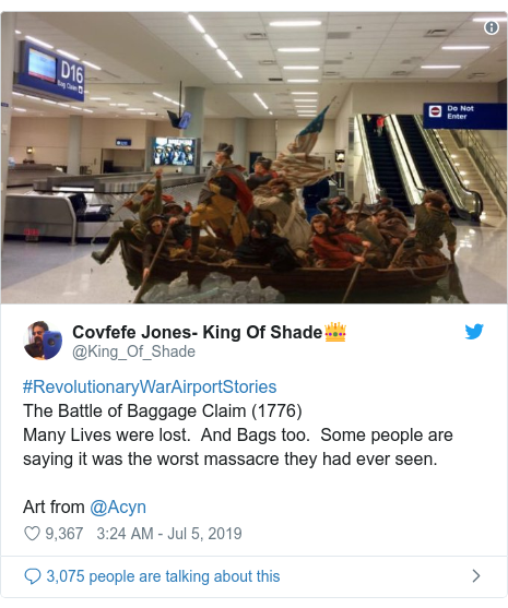 Twitter post by @King_Of_Shade: #RevolutionaryWarAirportStoriesThe Battle of Baggage Claim (1776)  Many Lives were lost.  And Bags too.  Some people are saying it was the worst massacre they had ever seen.Art from @Acyn
