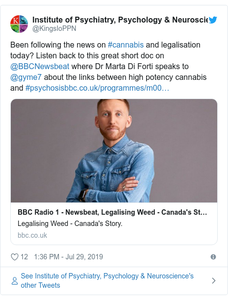 Twitter post by @KingsIoPPN: Been following the news on #cannabis and legalisation today? Listen back to this great short doc on @BBCNewsbeat where Dr Marta Di Forti speaks to @gyme7 about the links between high potency cannabis and #psychosis