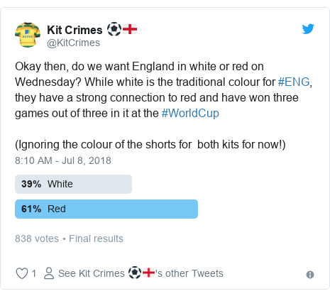 Twitter post by @KitCrimes: Okay then, do we want England in white or red on Wednesday? While white is the traditional colour for #ENG, they have a strong connection to red and have won three games out of three in it at the #WorldCup (Ignoring the colour of the shorts for  both kits for now!)