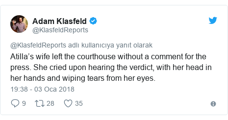 @KlasfeldReports tarafından yapılan Twitter paylaşımı: Atilla's wife left the courthouse without a comment for the press. She cried upon hearing the verdict, with her head in her hands and wiping tears from her eyes.