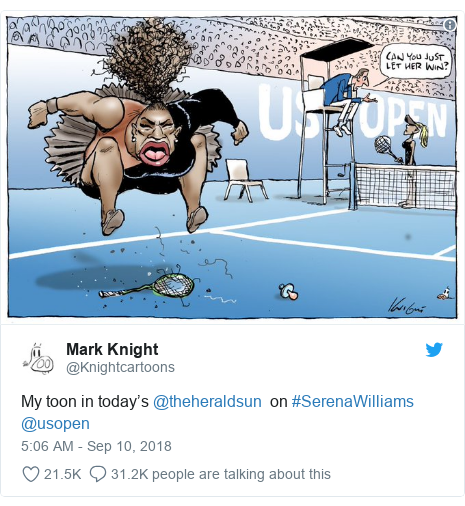 Twitter post by @Knightcartoons: My toon in today's @theheraldsun  on #SerenaWilliams @usopen