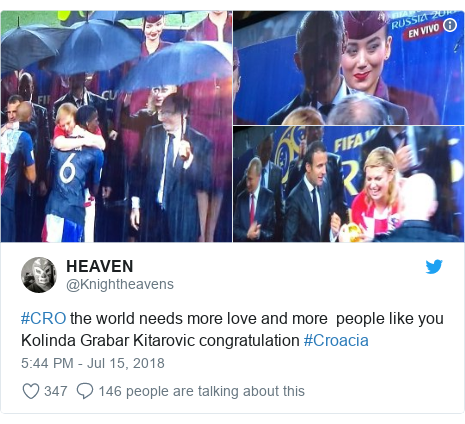 Twitter post by @Knightheavens: #CRO the world needs more love and more  people like you Kolinda Grabar Kitarovic congratulation #Croacia