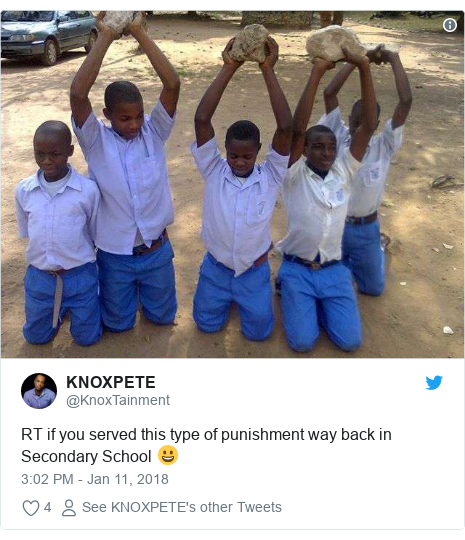 Twitter post by @KnoxTainment: RT if you served this type of punishment way back in Secondary School 😀