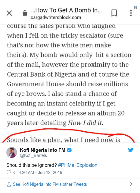 Twitter post by @Kofi_Bartels: Should this be ignored? #PHMallExplosion