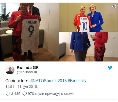 Twitter post by @KolindaGK: Corridor talks #NATOSummit2018 #Brussels